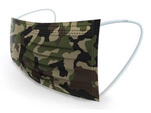 WeCare Protective Face Masks, Box of 50 (each Individually-Wrapped) - Army Camo