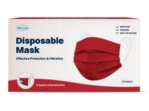 WeCare Protective Face Masks, Box of 50 (each Individually-Wrapped) - Red
