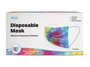 WeCare Protective Face Masks, Box of 50 (each Individually-Wrapped) - Tie Dye