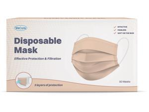 WeCare Protective Face Masks, Box of 50 (each Individually-Wrapped) - Nude