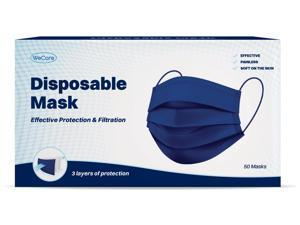 WeCare Protective Face Masks, Box of 50 (each Individually-Wrapped) - Navy Blue