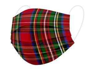 WeCare Protective Face Masks, Box of 50 (each Individually-Wrapped) - Red Plaid