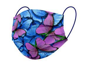 WeCare Protective Face Masks, Box of 50 (each Individually-Wrapped) - Butterfly Print