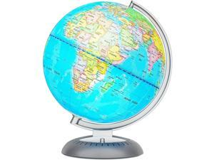 Little Experimenter Illuminated World Globe for Kids with Stand – Built-in LED Light Illuminates for Night View – Colorful, Easy-Read Labels of Continents, Countries, Capitals & Natural Wonders