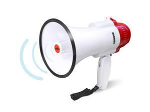 Croove Portable 30 Watt Bullhorn/Megaphone with Siren & Cheering - 800 Yard Range - Powerful and Lightweight - White