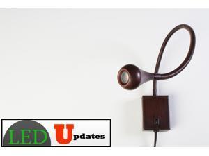 Flexible arm LED Light wall mount bedside adjustable gooseneck Bronze 5000k