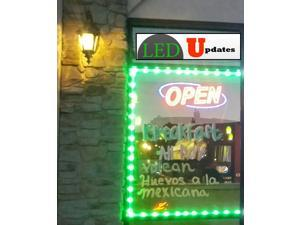 20ft Storefront Green LED Light with UL listed 12v 3A power supply