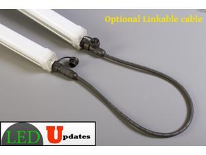 2pcs 4ft Waterproof LED tube light 30w 3000 Lumen with link  and power cable