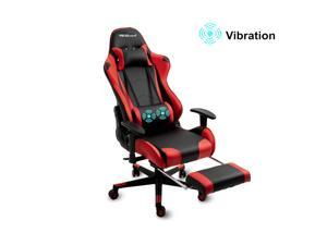 Gaming Chair Large Size High-Back Ergonomic Racing Seat with Massager Lumbar Support and Retractible Footrest(Red)