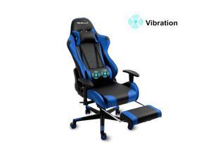 Gaming Chair Racing Style Office Chair Adjustable Massage Lumbar Cushion Swivel Rocker Recliner Leather High Back Ergonomic Computer Desk Chair with Retractable Arms and Footrest (Blue)