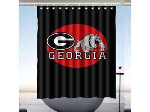 Georgia Bulldogs UGA Design Polyester Fabric Bath Shower Curtain 60x72 Inch