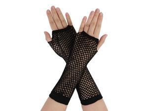 Global Bargains Women's Fingerless Fishnet Elbow Length Gloves 2 Pairs Black