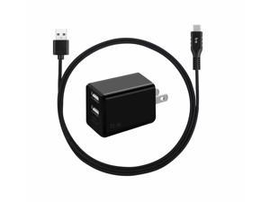 Blu Element Wall Charger Dual USB 3.4A w/USB-C Cable Black Wall Chargers