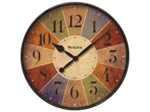 """Westclox 32897 12"""" Kalediscope Round Wall Clock with Multicolor Dial, Rubbed Case Finish, Glass Lens"""
