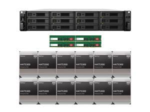 Synology RS3621xs+ RackStation with 64GB RAM and 96TB (12 x 8TB) of HAT5300 Synology Enterprise Drives Fully Assembled and Tested By CustomTechSales