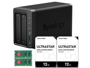 Synology DS718+ DiskStation Fully Assembled and Tested with 4GB RAM and 24TB (2 x 12TB) Ultrastar Enterprise Drives By CustomTechSales