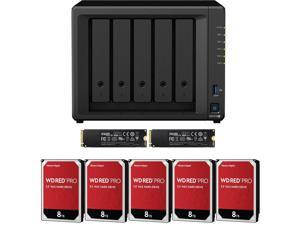 Synology DS1019+ 5-Bay DiskStation Assembled and Tested with 8GB RAM and 40TB (5 x 8TB) Western Digital PRO NAS Drives and 1TB (2x500GB) NVMe Cache Fully Assembled and Tested by CustomTechSales