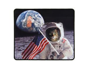 Funny Large Cat Gaming Mouse Pad with Patriotic Cat Astronaut Experiencing Epiphany (12.6 x 10.6 inches) by ENHANCE - Novelty Extended Mouse Mat with Anti-Fray Stitching , Non-Slip Rubber Base
