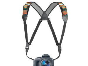 DSLR Camera Strap Chest Harness with Southwest Neoprene Pattern and Accessory Pockets by USA GEAR - Works with Canon , Nikon , Fujifilm , Sony and More Point & Shoot , Mirrorless Cameras