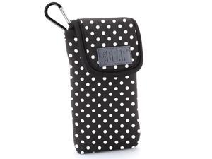 Protective iPhone SE / 5S / 5 Holster Case by USA Gear - Belt Loop & Carabiner Clip , Scratch Resistant Interior , Padded Neoprene & Accessory Storage - Classic Polka Dot