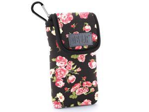 Protective iPhone SE / 5S / 5 Holster Case by USA Gear - Belt Loop & Carabiner Clip , Scratch Resistant Interior , Padded Neoprene & Accessory Storage - Painted Floral