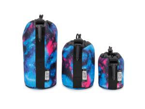 USA GEAR FlexARMOR Protective Neoprene Lens Case Pouch Set 3-Pack (Galaxy) - Small, Medium and Large Cases Hold Lenses up to 70-300mm with Drawstring Opening , Attached Clip , Reinforced Belt Loop