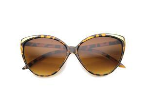 Womens Cat Eye Sunglasses With UV400 Protected Gradient Lens (Tortoise-Gold / Amber)