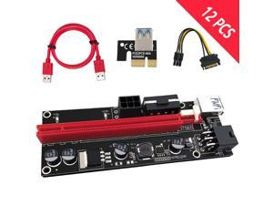12PCS Riser Card 009S Molex 6pin Power Supply Adapter SATA to USB 3.0 Cable 1x to 16X PCIE PCI-E PCI Express