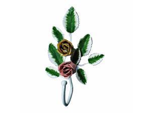 Flower Robe Hook Wrought Iron Pink Rose | Renovator's Supply