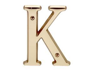 """Letter """"K"""" House Letters Solid Bright Brass 4"""" 
