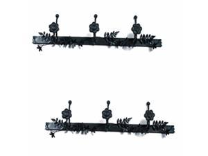 Decorative Triple Hook Black Rose Wrought Iron Pack of 2 | Renovator's Supply