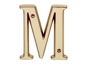 """Letter """"M"""" House Letters Solid Bright Brass 4"""" 