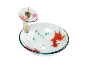 Glass Vessel Sink Koi Fish Waterfall Faucet Combo Package | Renovators Supply
