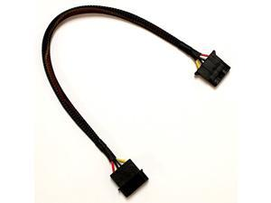 """12"""" 4-Pin Molex Power Extension Cable with Black Sleeving and Black Connectors"""