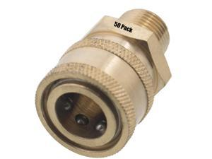 50 Erie Tools 3/8in. MPT Male Brass Socket Quick Connect Coupler 4000 PSI 10 GPM for Pressure Washer Nozzle Gun Hose Wand