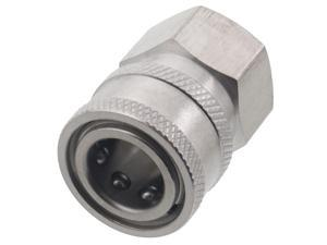 Erie Tools 3/8in. FPT Female Stainless Steel Socket Quick Connect Coupler 4000 PSI 10 GPM for Pressure Washer Nozzle Gun Hose Wand