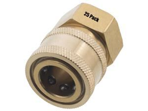 25 Erie Tools 3/8in. FPT Female Brass Socket Quick Connect Coupler 4000 PSI 10 GPM for Pressure Washer Nozzle Gun Hose Wand