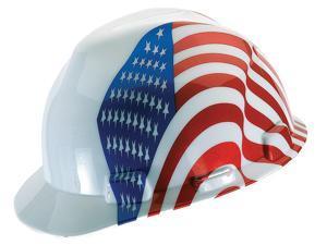 MSA Safety 10050611 V-Gard Protective Cap, Standard, White w/ American Flag