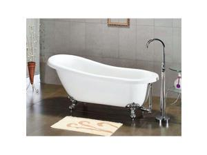 Cambridge Plumbing Inc AST67-150-PKG-BN-NH Acrylic Slipper Bathtub 67 x 30 in. with no Faucet Drillings and Complete Brushed Nickel Plumbing Package