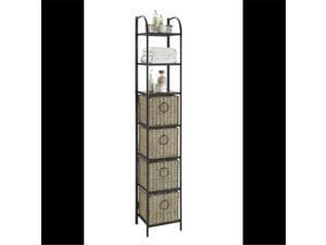 4D Concepts 603124 Windsor Bookcase with Baskets, Black Metal - Slate & Weave