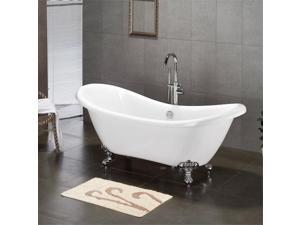 Cambridge Plumbing Inc ADES-684D-PKG-CP-7DH Acrylic Double Ended Slipper Bathtub 68 x 28 in. with 7 in. Deck Mount Faucet Drillings and Complete Polished Chrome Plumbing Package