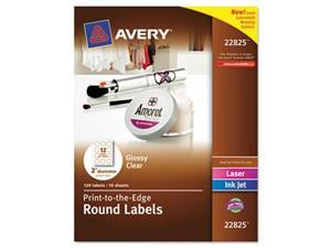 Avery 22825 Round Easy Peel Labels, 2 in. Dia., Glossy, Clear, 120-Pack
