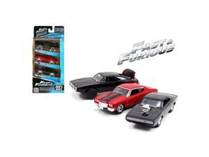 Jada 97426 Fast & Furious Doms Rides Dodge Chargers & Chevelle 3 Pack Set 1 55 Diecast Model Cars