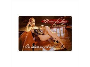 Past Time Signs HB050 Midnight Lace Woodies Pin-up Girl Tin Metal Sign