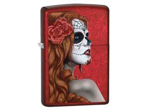 Zippo 28830 Day of The Dead Zombie Woman Candy Apple Red Full Size Lighter