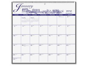 At A Glance AAGG100017 Illustrators Monthly Paper Wall Calendar - Blue