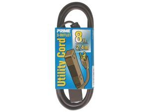 Prime EC850608 3-Outlet Utility Extension Cord, Brown