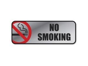 Consolidated Stamp 098207 Brush Metal Office Sign, No Smoking - Silver & Red