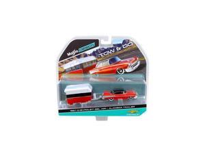 1957 Chevrolet Bel Air with Alameda Trailer Red Tow & Go 1:64 Diecast Model by Maisto