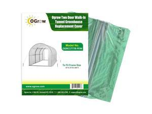 Ogrow OGRC17778-PEW Two Door Walk-In Tunnel Greenhouse to Fit Frame, White - 15 x 6 x 6 in.